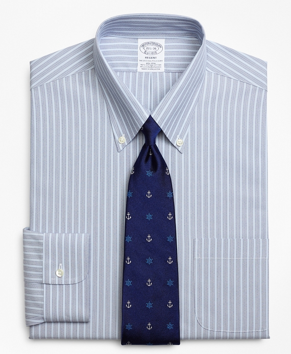 Stretch Regent Fitted Dress Shirt, Non-Iron Mini BB#1 Alternating Stripe Blue