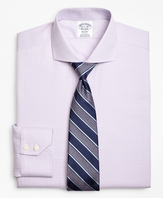 Regent Fitted Dress Shirt, Non-Iron Plaid Purple