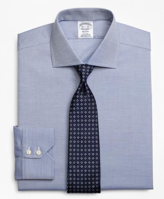 Regent Fitted Dress Shirt, Non-Iron Textured Circles Blue