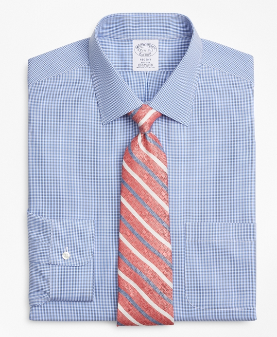 Regent Fitted Dress Shirt, Non-Iron Micro-Framed Gingham Blue