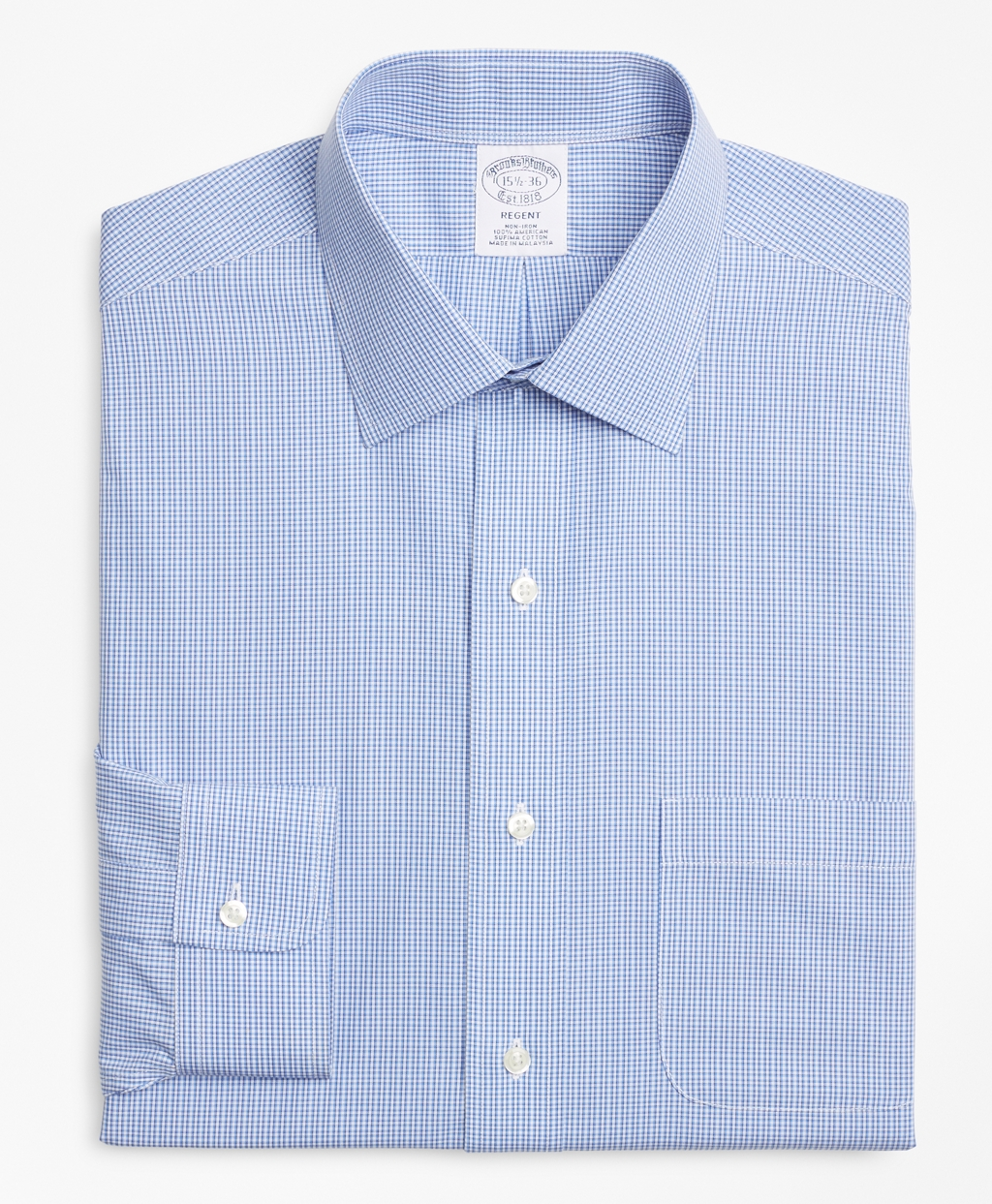 Regent Fitted Dress Shirt Non Iron Micro Framed Gingham Brooks