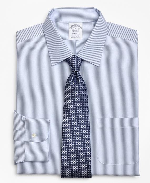 Regent Fitted Dress Shirt, Non-Iron Tonal Framed Stripe Blue