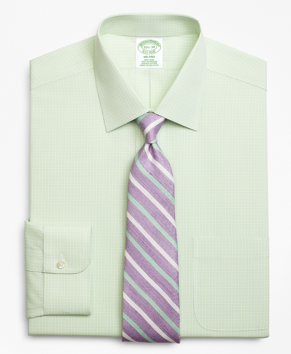 Milano Slim-Fit Dress Shirt, Non-Iron Micro-Framed Gingham Green