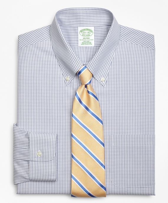 Milano Slim-Fit Dress Shirt, Non-Iron Double Mini-Windowpane Blue
