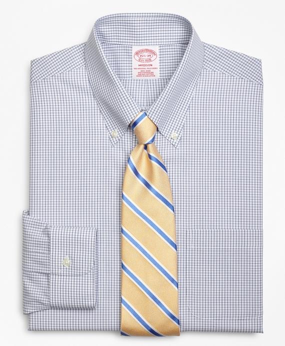 Madison Classic-Fit Dress Shirt, Non-Iron Double Mini-Windowpane Blue