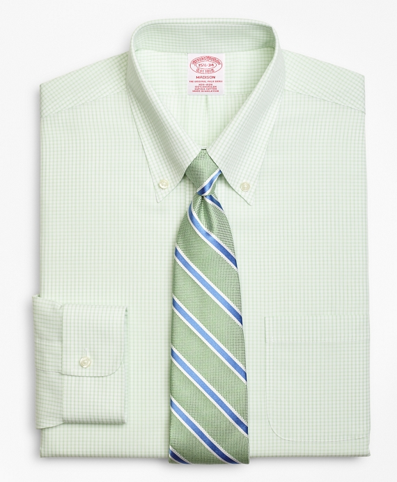 Madison Classic-Fit Dress Shirt, Non-Iron Double Mini-Windowpane Green