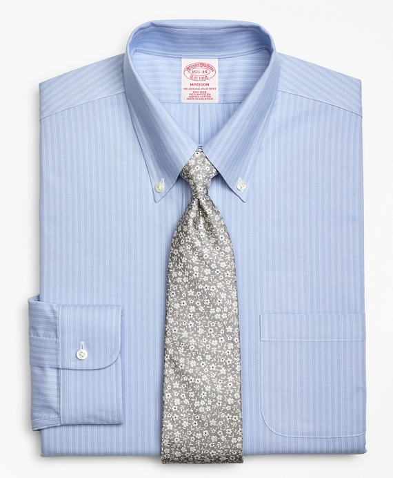 BrooksCool® Madison Classic-Fit Dress Shirt, Non-Iron Ground Double-Stripe Light Blue