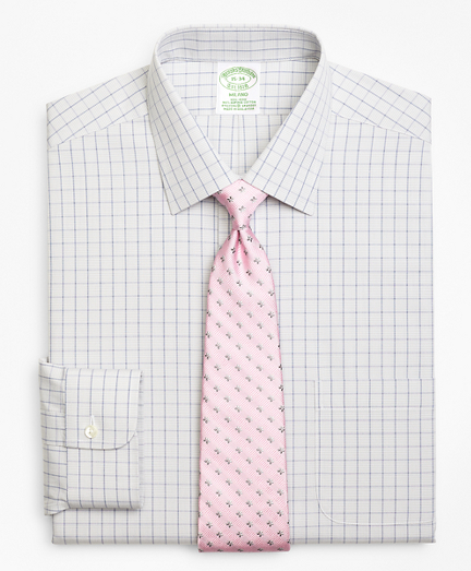 Stretch Milano Slim-Fit Dress Shirt, Non-Iron Houndstooth Overcheck
