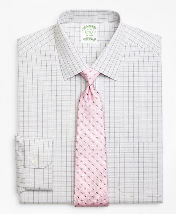 Stretch Milano Slim-Fit Dress Shirt, Non-Iron Houndstooth Overcheck Grey
