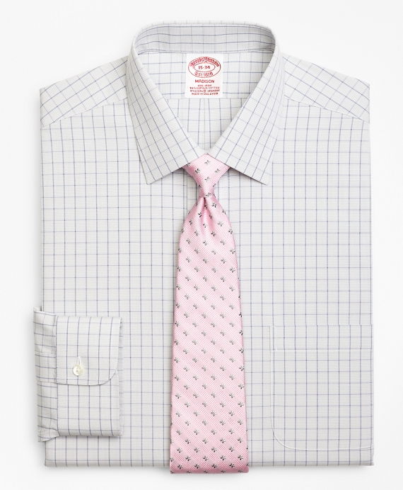 Stretch Madison Relaxed-Fit Dress Shirt, Non-Iron Houndstooth Overcheck Grey