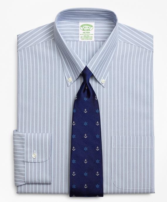 Stretch Milano Slim-Fit Dress Shirt, Non-Iron Mini BB#1 Alternating Stripe Blue