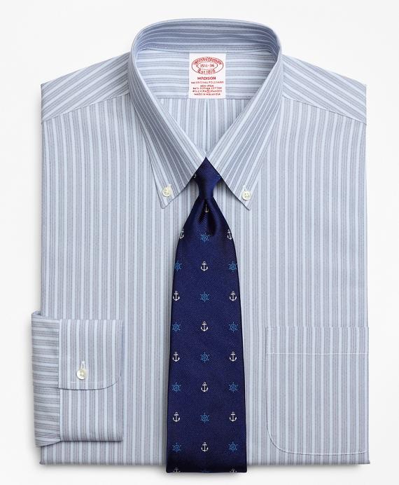 Stretch Madison Classic-Fit Dress Shirt, Non-Iron Mini BB#1 Alternating Stripe Blue