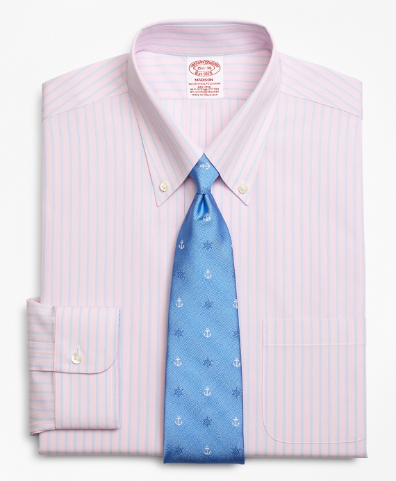 Stretch Madison Relaxed-Fit Dress Shirt,Non-Iron Mini BB#1 Alternating Stripe Pink