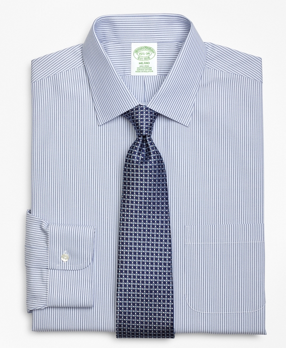 Milano Slim-Fit Dress Shirt, Non-Iron Tonal Framed Stripe Blue
