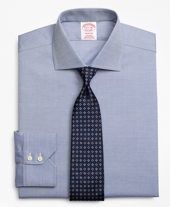 Madison Classic-Fit Dress Shirt, Non-Iron Textured Circles Blue