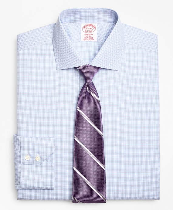 Madison Classic-Fit Dress Shirt, Non-Iron Two-Tone Graph Check Light Blue-Purple