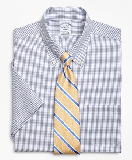 Regent Fitted Dress Shirt, Non-Iron Double Mini-Windowpane Short-Sleeve