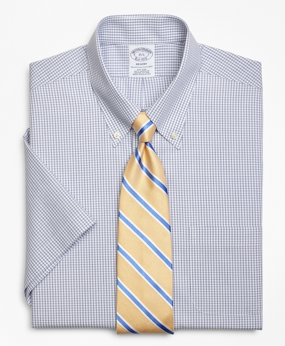 Regent Fitted Dress Shirt, Non-Iron Double Mini-Windowpane Short-Sleeve Blue