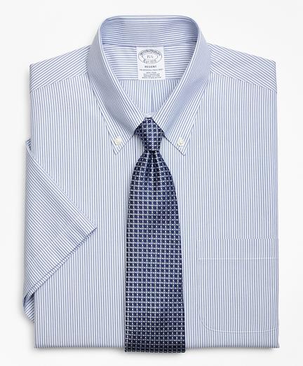 Regent Fitted Dress Shirt, Non-Iron Tonal Framed Stripe Short-Sleeve