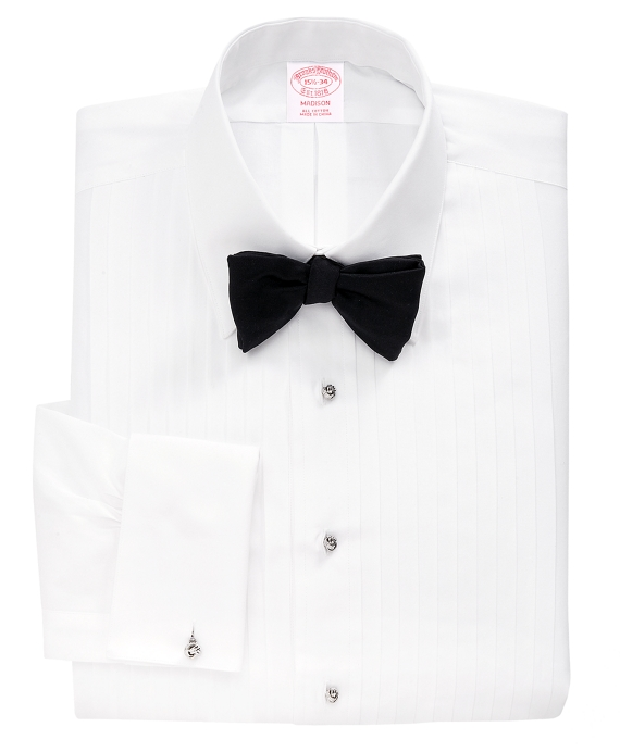 Madison Fit Ten-Pleat Tennis Collar Tuxedo Shirt White