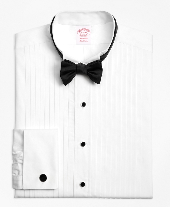 Madison Fit Ten-Pleat Wing Collar Tuxedo Shirt White
