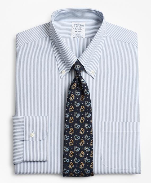 Stretch Regent Fitted Dress Shirt, Non-Iron Tonal Framed Stripe Blue