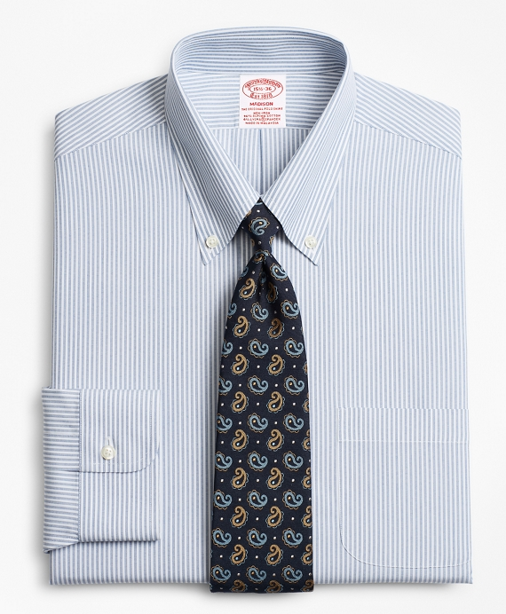 Stretch Madison Classic-Fit Dress Shirt, Non-Iron Tonal Framed Stripe Blue