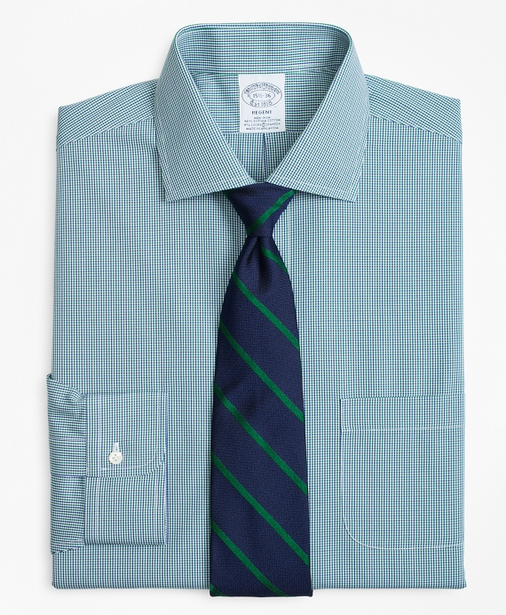 Stretch Regent Fitted Dress Shirt, Non-Iron Two-Tone Gingham Green-Blue