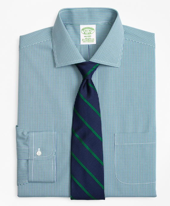 Stretch Milano Slim-Fit Dress Shirt, Non-Iron Two-Tone Gingham Green-Blue