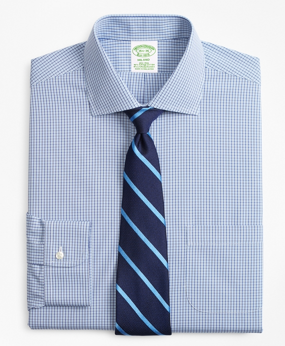 Stretch Milano Slim-Fit Dress Shirt, Non-Iron Two-Tone Gingham Light Blue-Blue