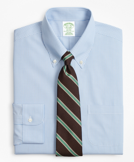 Milano Slim-Fit Dress Shirt, Non-Iron Sidewheeler Gingham Light Blue-Grey
