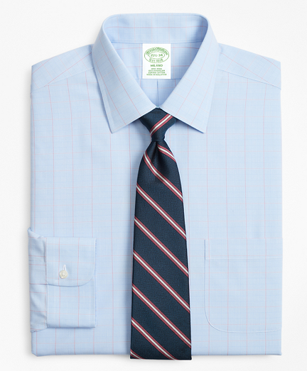 Milano Slim-Fit Dress Shirt, Non-Iron Large Overcheck