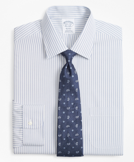 Regent Fitted Dress Shirt, Non-Iron Alternating Double-Stripe Grey-Blue