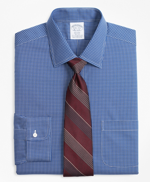 Stretch Regent Fitted Dress Shirt, Non-Iron Ground Check Blue