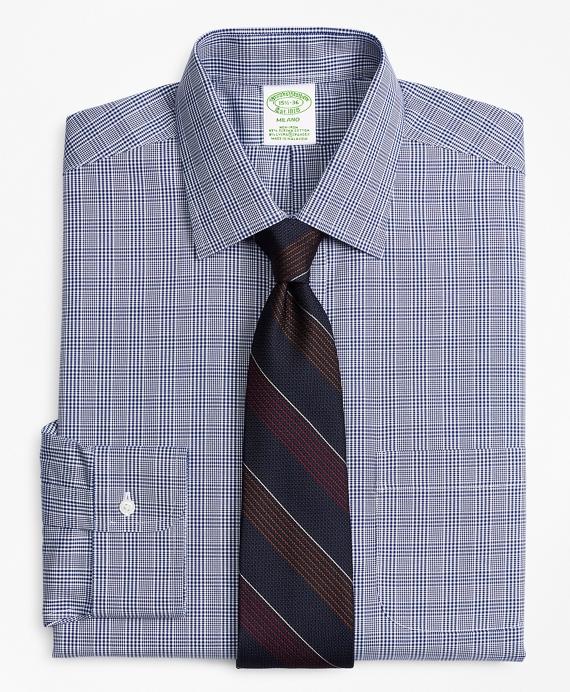 Stretch Milano Slim-Fit Dress Shirt, Non-Iron Glen Plaid Blue