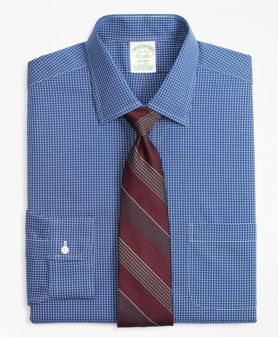 Stretch Milano Slim-Fit Dress Shirt, Non-Iron Ground Check Blue