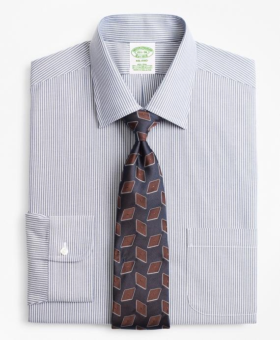 Stretch Milano Slim-Fit Dress Shirt, Non-Iron Narrow Ground Stripe Blue