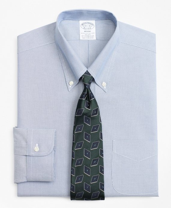 Stretch Regent Fitted Dress Shirt, Non-Iron Hairline Stripe Blue