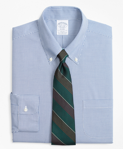 Stretch Regent Fitted Dress Shirt, Non-Iron Mini-Windowpane