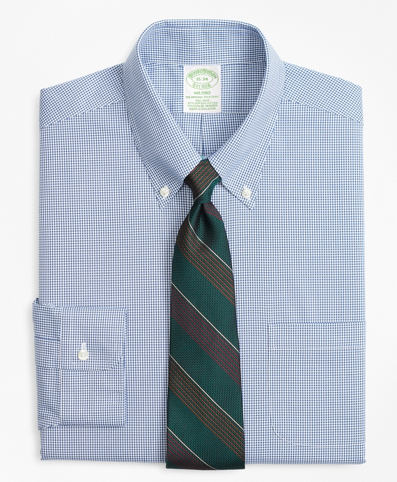 Stretch Milano Slim-Fit Dress Shirt, Non-Iron Mini-Windowpane Blue