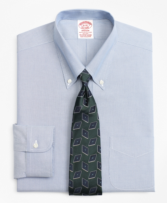 Stretch Madison Classic-Fit Dress Shirt, Non-Iron Hairline Stripe Blue