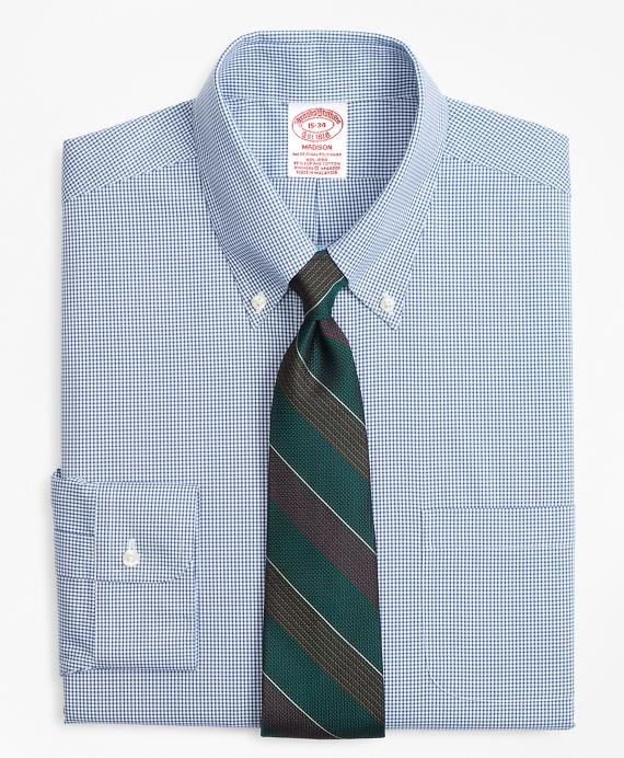 Stretch Madison Classic-Fit Dress Shirt, Non-Iron Mini-Windowpane Blue