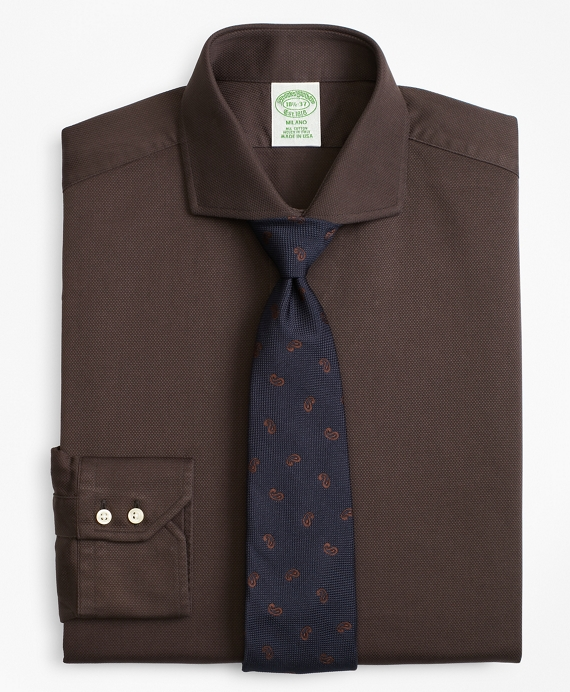 Milano Slim-Fit Dress Shirt, Textured Micro-Check Brown