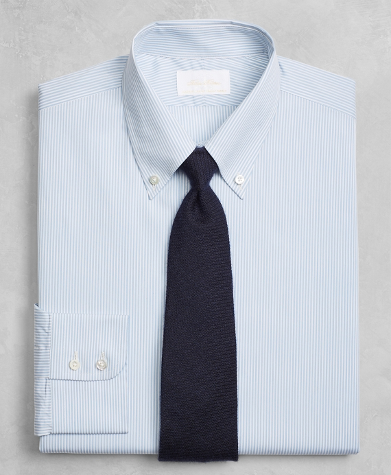 Golden Fleece® Milano Slim-Fit Dress Shirt, Button-Down Collar Blue Micro-Stripe Light Blue