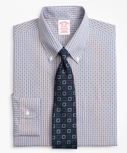 Traditional Relaxed-Fit Dress Shirt, Non-Iron Two-Tone Check