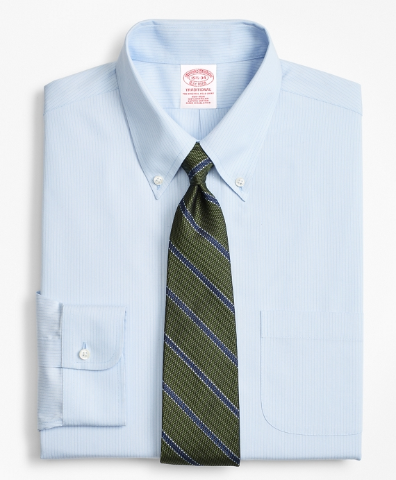 Traditional Relaxed-Fit Dress Shirt, Non-Iron Tonal Ground Stripe Light Blue