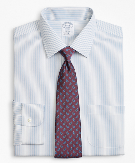 Stretch Regent Fitted Dress Shirt, Non-Iron Alternating Framed  Stripe