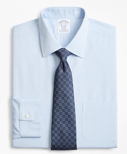 Stretch Regent Fitted Dress Shirt, Non-Iron Narrow Pindot Stripe