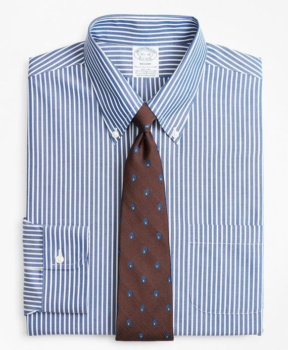 Stretch Regent Fitted Dress Shirt, Non-Iron Ground Stripe Blue