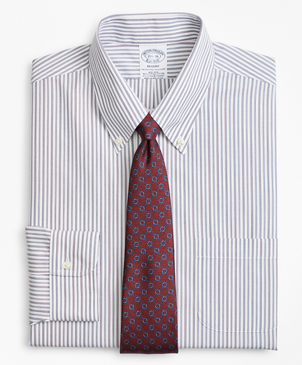 Stretch Regent Fitted Dress Shirt, Non-Iron Alternating Triple Stripe